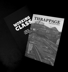 Front cover of Thrappage magazine showing the Liverpool Overhead Railway alongside a copy of Cutting Mustard zine.